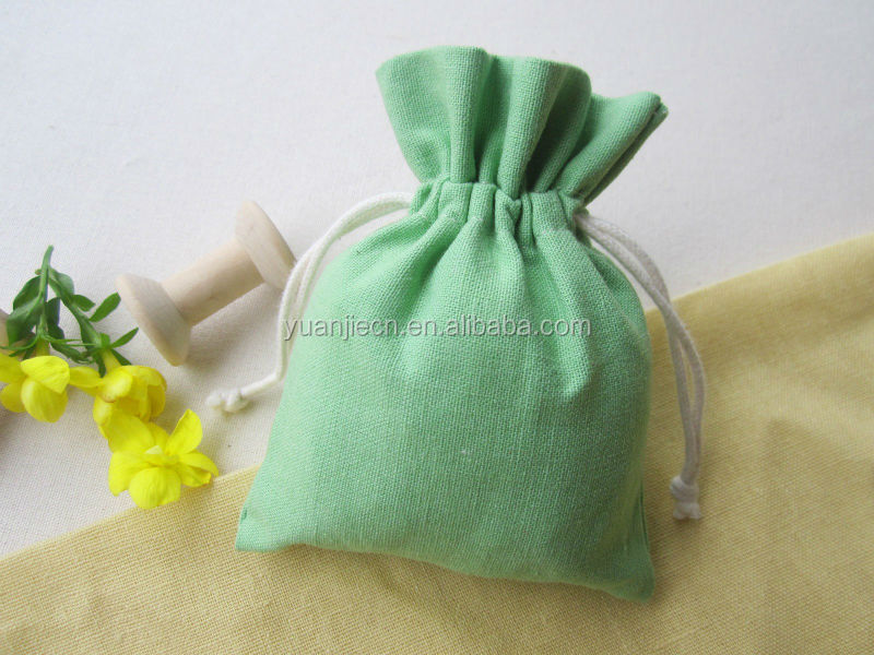 Logo printed promotional draw string cotton gift bag cotton jewelry pouch with cotton rope
