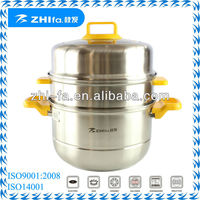 3-layer save space colorful folding stainless steel steam pot/metal double boiler