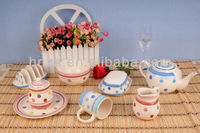 New Design Color Dots Ceramic Handpainted Stoneware Dinner Set/colorful ceramic home/restaurant cookware set