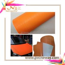Auto Carbon Fiber Car Wrapping Vinyl Sticker,Orange color Car Wrap Carbon Fiber