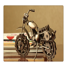 """Metal Motorcycle Sculpture -10.5"""" Die Cast Chainwheel Collectible Double Cylinder Motorbike with Wire-Copper"""