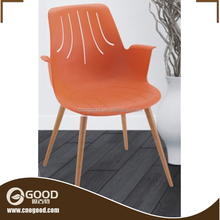 Cheap Plastic Dining Chair with Solid Wood Leg