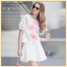 Printed organza round collar short sleeve dress