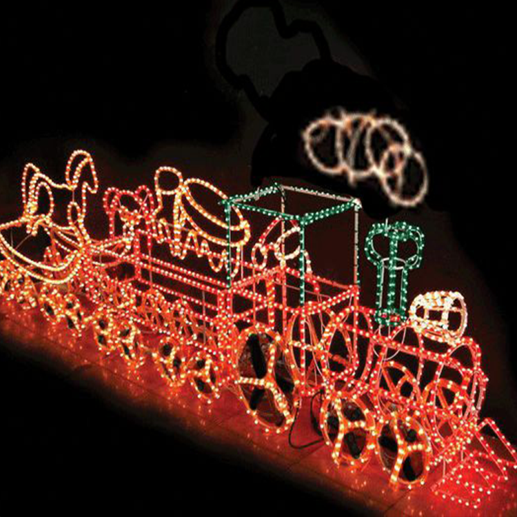3d outdoor lighted christmas train led motif displays for lawn decoration