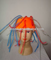 new funny orange velour spring tubes novelty party hat for football fans