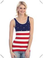 Fashion American Flag Womens Seamless Tank Top Polyester Spandex Custom USA Flag Printed Slim Fit Scoop Neck Tank Top