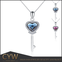 CYW beautiful 925 sterling silver necklace pendant crystal bling bling silver 925 key shape pendant for young lady