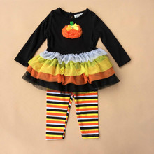 2015 Fall Thanksgiving Day Pumpkin baby girls clothes set