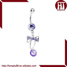 HT 316L Stainless Steel Purple Sweetness Wrapped in a Bow Dangle Belly Navel Ring Body Piercing Jewelry