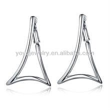 Special bali jewelry earring 18k white gold zircon earring fashionable triangle earrings