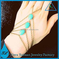 Wholesale cheap turquoise bracelet and ring connected