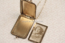 Victorian Gold Filled Rectangle Photo Locket Necklace, Geometric Stripes Triangle, Long Chain, Monogram Shape