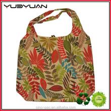 New design Supermarket promotion christmas gift handbag custom flower printing ladies eco folding shopping bag with logo