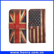 Wholesale USA Flag Wallet Stand Flip Leather Case for iPhone 5 with Card Slots