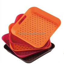 Plastic square double non slip serving tray with handle