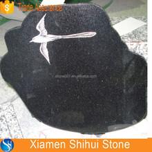 Black Galaxy Granite Custom Tombstone with Birds