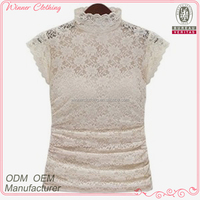 Hot selling fancy design short sleeve high neck sexy ladies lace tops latest design
