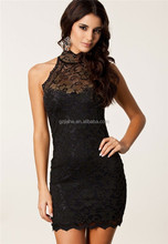 2014 New Women's Sexy Black Sexy Party Halter Neck Lace Sleeveless Turtleneck Vintage Dress, Vintage Sexy Dress,Casuall Dresses