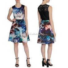 New clothing manufacturer print crew neckline fashion black casual dresses
