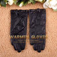 WARMEN Puck Cool Women's Driving with Decorated Buckle & Rivet Geniune Leather Gloves