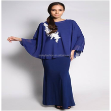 Dubai abaya wholesale islamic chiffon lace long dress modern kaftan jubah