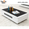 glass table top wooden base coffee table J301A