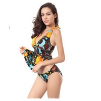 Free Shipping DHL Wholesale girls piece suit Printing Push-Up Halter bikini Swimsuit ;thin cover belly split skirt swimwear.
