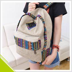 2015 Custom Wholesale New Trendy School Bag Canvas Fashion Backpack