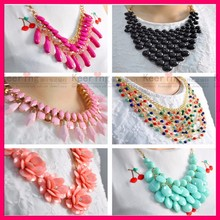 New fashion statement costume women necklace designs pendant latest design beads pearl crystal collar necklace jewelry set