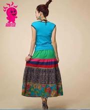 Verano de algodón de estilo nacional mujeres falda larga con buen color