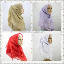 Factory Produce Promotion wedding and party chiffon laced muslim arabic hijab scarf