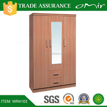 solid wood cheap wardrobe with mirror