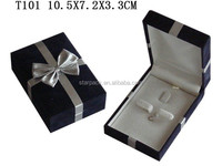 China Manufacture Velvet Covered around Jewelry Set Box for Ring Earring Pendant with Satin Top inside T101