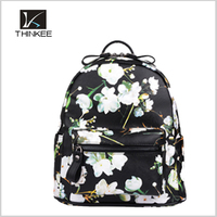 Lady leather backpack small portable leather bag picture printing leather bag