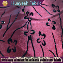 100% Polyester small flower flocked curtain fabric the best kinds of taffeta