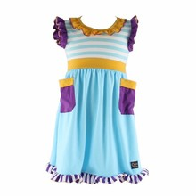 Children's boutique fancy pocket pattern latest dress designs for girls summer 2015
