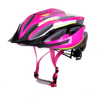 light-yet-durable outershell bike helmet with sun visor, pc in-mold lady bicycle helmets