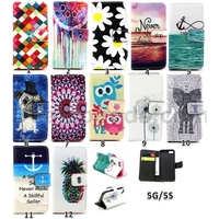 Dream Catcher/Never Stop and Sunset Type PU+TPU Wallet Leather Skin Stand Flip Cover For iPhone 5s/5