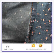Shrink-resistant feature and 100% cotton printed denim fabric with twill style