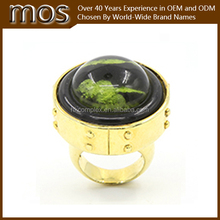 14K Gold plated largest transparent resin ring