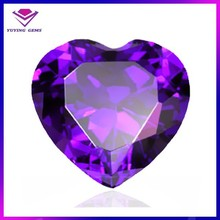 Violet Crystal Beads Cubic Zirconia Heart Gems for Jewelry
