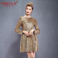 Size Can Custom YIGELILA 61219 Fashion 2015 Womens Long Sleeve Mini Golden Sequin Winter Cocktail Dresses Shirts Coats Australia