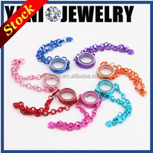 Handmade fashion glass jewelry trends 2015 high quality mixed colors mens alloy metal floating locket bracelet