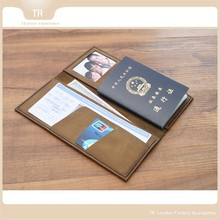 Genuine leather passport holder versatile credit card holder also for air ticket cover