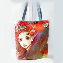 Inida popular long style digital print tote shopping bag for young lday cheap printed shopping bags