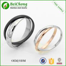Novo estilo de prata preto anel cor barato aço inoxidável significativa da moda casal anel estrela