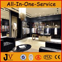 Retail garment shop interior design with display racks