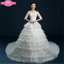 ShiJ Gorgeous White Ruffle Skirt Long Sleeve Bridal Gowns Lace Wedding Dresses