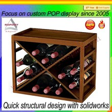Simple Design Wooden Red Wine Display Case For Bars