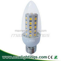 Factory price !!5050SMD glass C40 led corn bulb 45SMD led candle light Dimmable E27 led candle light